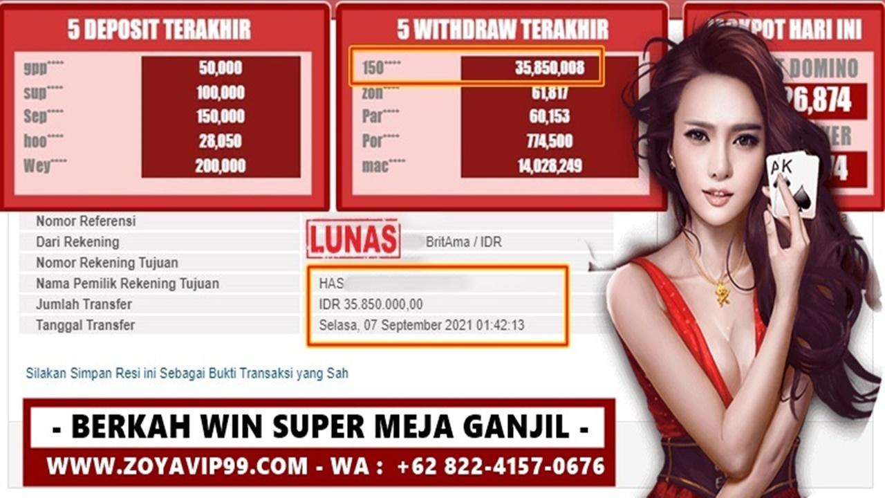 Berkah Win Super Exclusive Di Meja Ganjil ZoyaQQ!